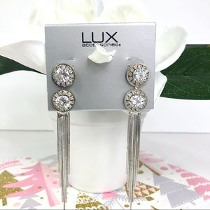 Lux Silver Rhinestone Earrings